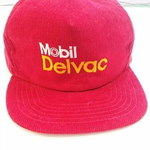 Vintage Mobile Delvac Red Corduroy Hat Snap Back